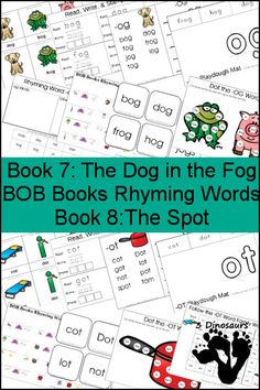 Early Reading Printables: BOB Books Rhyming Words Books 7 & 8: -OG & -OT rhyming words - 3 part cards, cube flashcards, playdough mats, and more - 3Dinosaurs.com