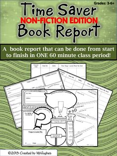 Hey There Time Saver! I am excited to announce the NON-FICTION TEXT edition! This is similar in format to my Time Saver Book Report Project. Read on to learn more!   If you are here, you are looking for ways to save time in your classroom! OR, if you are like me, you are tired of students who seem to never come prepared with their book report projects. And then, even when they DO come prepared, you end up spending one or more days of reading time to present and share. ($)