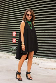 fashion weeks, skin care, statement necklaces, dress, street styles, black heels, new york fashion, shoe, style clothes