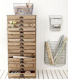 cabinet drawer ideas, studio storage, office storage, office rooms, home office vintage, wire baskets office, storage ideas, craft rooms, ising wire baskets to organize