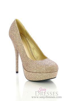 Enchanting Glittery Gold High Heel Platform Pumps