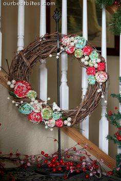 DIY Grapevine wreath/ Rolled Fabric Flowers