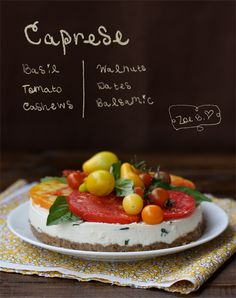 Savory Caprese Cheesecake - yes, a savory cheesecake!! And it's dairy-free!