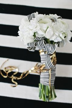 Black and white ribbon + white flowers | Photo: Jen Meneghin | Sequins and Champagne Inspiration @Ruffled