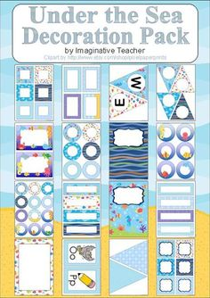 Decoration Pack - Under the Sea theme - Perfect for locker tags, desk name tags, bulletin boards displays, supply labels, subject headers, literacy charts and more!   This pack uses 8 different water/fish patterns and includes:  Welcome sign bunting Blank bunting in 2 different sizes 2 different styles of round tags in 3 sizes 2 styles of small square labels Large rectangular labels Small rectangular labels Desk name tags Whole paged borders Folder divider pages A-Z Alphabet Chart  81 pages