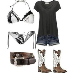 girl clothing, summer styles, tall boots, swimsuit, beach outfits, country girls, black boots, summer outfits, bikini