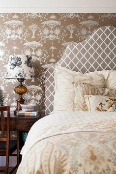 Pattern mixing in neutrals pattern mixing, headboard, bedroom decor, patterns, neutral palette, wallpapers, bedside tables, bedrooms, bedroom designs