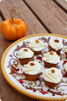 Pumpkin Walnut Cupcakes with Spiced Cream Cheese Frosting | The Comfort of Cooking