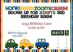 Cars Birthday Invite.
