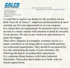 Such high (and well deserved) praises for both Vince and Jim! Well done, fellas! And, of course, thank you for taking the time to write to us, T.C.! Customer Service is the highest priority for us here at Galco Industrial Electronics!  #CustomerService