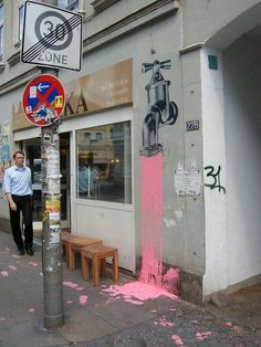 faucet, funni street, urban art, top10 funni, street art, taps, paint, pink, streetart