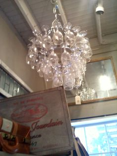 Chandelier from wine glasses