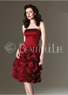 $81.49  Retro Burgundy Strapless Ball Gown Satin Prom Dress #red #pretty #dress