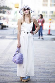 A white jumpsuit is the perfect backdrop to make pastel accessories pop #sxsw #streetstyle