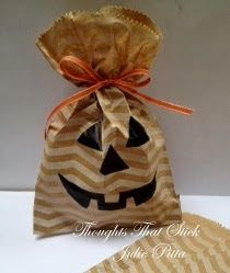 Love this gift bag decorated with a custom carved stamp by Julie Pitta.