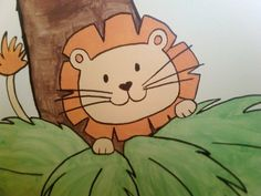 Lion I painted for a boys jungle themed room