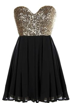 Glitter Fever Dress: Features a striking sweetheart neckline, sparkling gold sequin bodice, centered rear zip closure, and a beautifully gathered A-line skirt to finish.