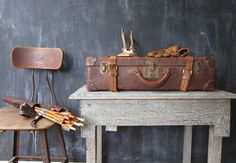 Antique Suitcases and School Chairs