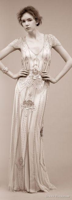 Vintage inspired wedding dress by Jenny Packham.  1920's