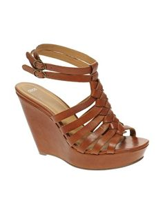 Leather wedge sandals.