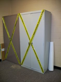 Brilliant idea....you don't need to decorate everything, just put some crime scene tape on it.