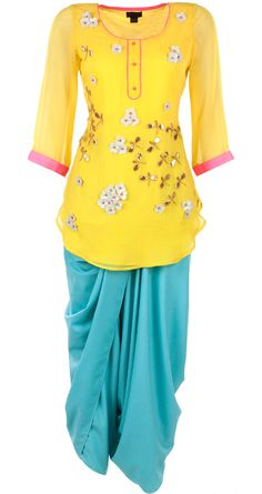 Yellow embroidered kurti with dhoti and stole available only at Pernia's Pop-Up Shop.