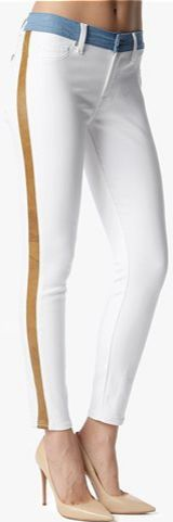 The Mid Rise Ankle Skinny with Faux Leather Trim in White.
