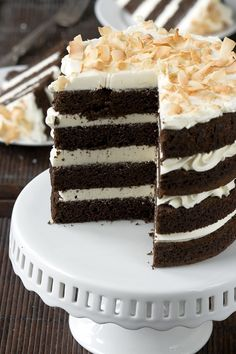 Chocolate coconut milk cake with coconut buttercream....