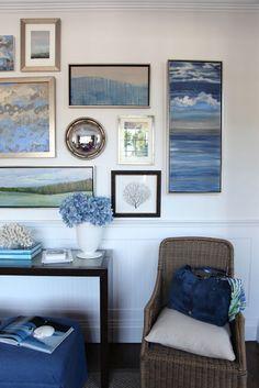 wall collage, seaside decor, artworks, galleri, color, beach houses, gallery walls, blue art, art walls