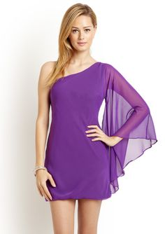 Love! BODY LANGUAGE  One-Shoulder Batwing Sleeve Dress