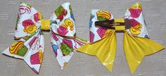 Cupcake Print & Yellow Duck Duct Tape Bow Snap Clip Barrette.
