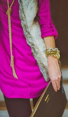 everything perfect about this outfit - bright color, gold tassel and fur!