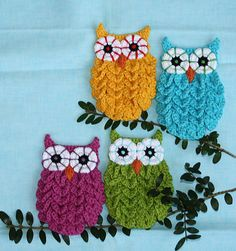 Owls made using the crocodile stitch