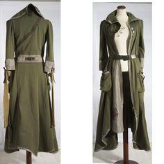 costum, cloth, dress, khaki green, wearable art, green coat, coats, post apocalyptic, haute couture