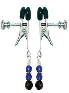 Adjustable Nipple Clamps with Blue Beads #nippleclamps #nipple #clamp