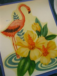 Vintage Meyercord flamingo and hibiscus decal transfer - 1940s on Etsy, $10.00