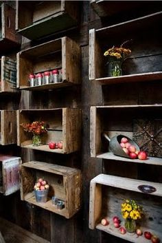wood box shelves, hanging plants, art storage, display, wood boxes, float shallow, old crates, wooden crates, wood crates