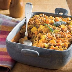 cornbread stuffing with sweet potatoe and squash.  i love thanksgiving foods.