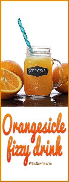 Simple recipe for a healthy, thirst-quenching fizzy drink that tastes like an orange creamsicle! No refined sugar - sweetened with natural stevia.