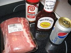 easiest pulled pork recipe. Pork butt, 1 can diet pepsi, 1/2 bottle sweet baby ray's BBQ sauce and lawry's season salt. Coat pork with Lawry's, put all ingredients in crock pot and cook for 4 hours,then use 2 forks to shred the pork and cook for 1 more hour. Serve on kaiser roll, delish!