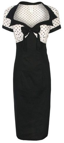 Laney Pinup Polka Dot Bow Wiggle Dress - £29.99, Pieces of the Past #fashion #style #retro #pinup