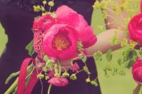 bridesmaids, pink flowers, bridesmaid flowers, color, wedding bouquets, black bridesmaid dresses, bridesmaid bouquets, green weddings, pink peonies