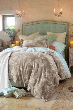 Beautiful taupe and mint green bedroom by Máire.  I like the wall color because it is so versatile; I could paint the walls Before I choose/buy the new bedding set! bedding, decor, color combos, color schemes, blue, headboards, duvet covers, bedroom colors, bedrooms