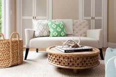 Casual Creamy Living Room with tufted sofa and lots of texture; great screened closet doors - Terracotta Properties