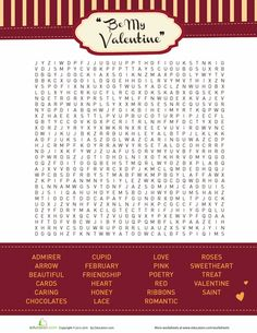 Worksheets: Valentines Word Search