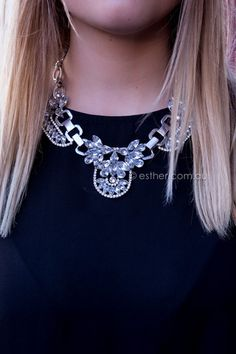 clear statement necklace - silver $49 AUD - free worldwide shipping
