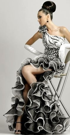 . evening dresses, ruffl, evening gowns, designer gowns, black white, fashion designers, aodai, dress designs, white gowns