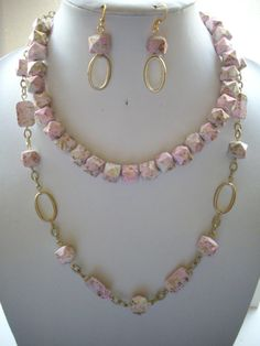 Pink and White Metallic Gold Speckled Square by DesignsbyPattiLynn, $80.00