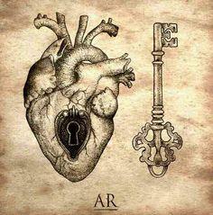 Nice heart lock and key tattoo