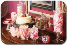 cute candy jars withpink / red goodies